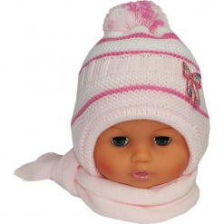 Czapka niemowlęca z szalikiem CZ+S 154B. Szare czapeczki niemowlęce Proman. Za 38,76 zł.