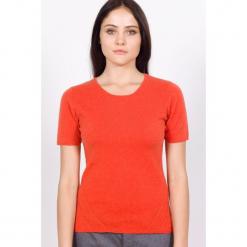 Sweter kaszmirowy w kolorze pomarańczowym. Brązowe swetry klasyczne damskie marki Ateliers de la Maille, z kaszmiru, z okrągłym kołnierzem. W wyprzedaży za 318,95 zł.