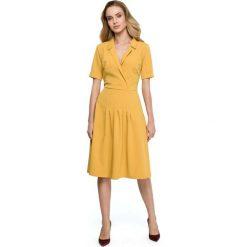 Żółta Elegancka Sukienka z Kopertowym Kołnierzem. Brązowe sukienki balowe marki Mohito, l, z kopertowym dekoltem, kopertowe. Za 135,90 zł.