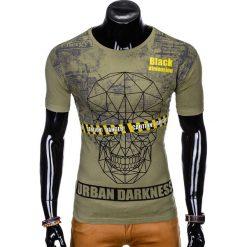 T-SHIRT MĘSKI Z NADRUKIEM S933 - KHAKI. Czarne t-shirty męskie z nadrukiem marki Ombre Clothing, m, z bawełny, z kapturem. Za 29,00 zł.