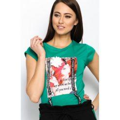 Zielony T-shirt Pop Art. Zielone bluzki damskie Born2be, uniwersalny. Za 49,99 zł.