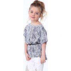 T-shirty dziewczęce: Bluzka dziewczęca z wiązaniem biało-granatowa NDZ8200