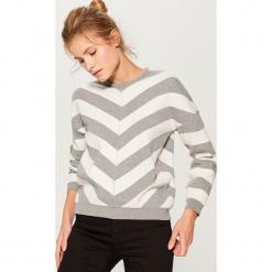 Sweter oversize w paski - Szary. Szare swetry oversize damskie Mohito, l. Za 119,99 zł.