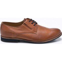 Wojas - Półbuty. Brązowe buty wizytowe męskie Wojas, z materiału, z okrągłym noskiem, na sznurówki. W wyprzedaży za 219,90 zł.