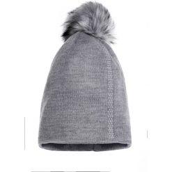 Czapki zimowe damskie: Szara czapka z futrzanym pomponem QUIOSQUE