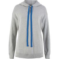 Swetry klasyczne damskie: Sweter dzianinowy z kapturem bonprix jasnoszary melanż
