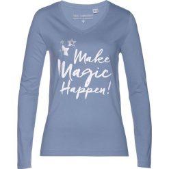 T-shirt bonprix matowy niebieski. Niebieskie t-shirty damskie bonprix, z nadrukiem. Za 34,99 zł.