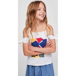 Mango Kids - Top dziecięcy Deco 110-164 cm. Szare bluzki dziewczęce Mango Kids, z nadrukiem, z bawełny. Za 59,90 zł.