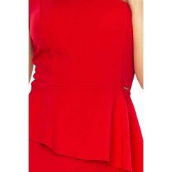 OLIVIA Asymetryczna sukienka z baskinką - CZERWONA. Różowe sukienki asymetryczne marki numoco, l, z długim rękawem, maxi. Za 129,99 zł.