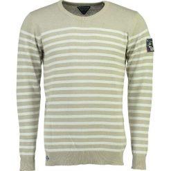 """Swetry klasyczne męskie: Sweter """"Frontal"""" w kolorze szaro-białym"""