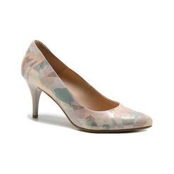 Buty ślubne damskie: Skórzane czółenka w kolorze beżowym ze wzorem