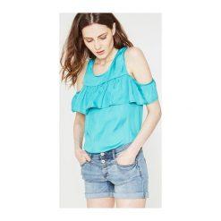 Top z odkrytymi ramionami. Szare bluzki dziewczęce z krótkim rękawem Promod, z jeansu, z falbankami. Za 29,00 zł.