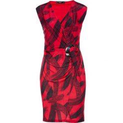 Sukienka dżersejowa bonprix czerwono-czarny wzorzysty. Czerwone sukienki z falbanami marki Mohito, l, z weluru. Za 79,99 zł.