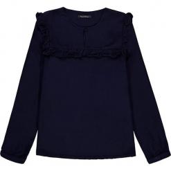 Bluzka w kolorze granatowym. Białe bluzki dziewczęce marki Marc O'Polo Junior, z nadrukiem, z okrągłym kołnierzem, z długim rękawem. W wyprzedaży za 92,95 zł.