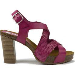 Rzymianki damskie: Skórzane sandały w kolorze fioletowym