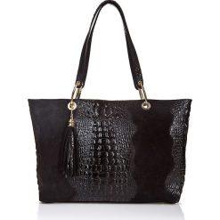 Torebki klasyczne damskie: Skórzana torebka w kolorze czarnym – 42 x 58 x 14 cm