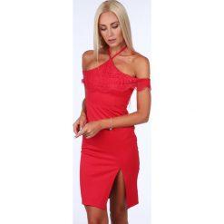 Sukienka z wiązaniem na szyi czerwona ZZ312. Białe sukienki na komunię marki Fasardi, l. Za 99,00 zł.