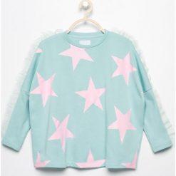 Bluzy dziewczęce rozpinane: Bluza z tiulowymi falbankami - Turkusowy