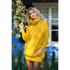 Sukienka tunika z golfem fb577. Szare długie sukienki marki Fobya, na zimę, z wełny, z golfem, z długim rękawem. Za 149,00 zł.