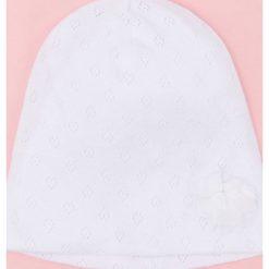 Czapki damskie: Ażurowa czapka z kwiatkiem – Biały
