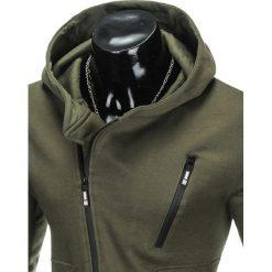 BLUZA MĘSKA ROZPINANA Z KAPTUREM B738 - KHAKI. Brązowe bluzy męskie rozpinane marki Ombre Clothing, m, z bawełny, z kapturem. Za 69,00 zł.