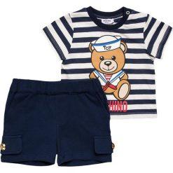 MOSCHINO BABY SET Szorty riga blu. Niebieskie spodenki chłopięce MOSCHINO, z bawełny. Za 419,00 zł.
