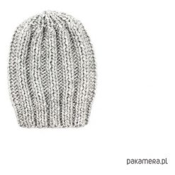 Czapki damskie: Szara grubaśna czapka robiona na drutach