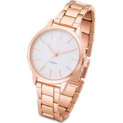 Biżuteria i zegarki: Zegarek na metalowej bransoletce bonprix kolor czerwonego złota - biały