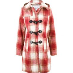 Płaszcze damskie: Płaszcz z kapturem bonprix czerwony kasztanowy w kratę