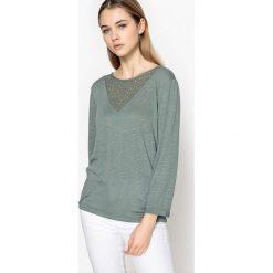 T-shirty damskie: T-shirt gładki z okrągłym dekoltem i długim rękawem