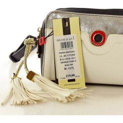 Dwukomorowa torebka listonoszka granatowa z białym VALENTINA. Białe torby na ramię męskie Monnari, w paski, ze skóry ekologicznej, małe, zdobione. Za 139,00 zł.