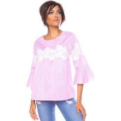 """Bluzki asymetryczne: Koszulka """"Yona"""" w kolorze jasnoróżowo-białym"""
