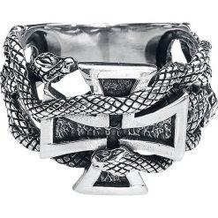 EtNox Eisernes Kreuz mit Schlangen Pierścień srebrny. Żółte sygnety męskie marki W.KRUK, złote. Za 144,90 zł.