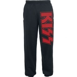 Kiss Logo Spodnie dresowe czarny. Czarne spodnie dresowe męskie marki Kiss, z nadrukiem, z dresówki. Za 121,90 zł.
