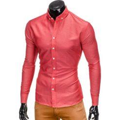 KOSZULA MĘSKA Z DŁUGIM RĘKAWEM K403 - CZERWONA. Brązowe koszule męskie na spinki marki Ombre Clothing, m, z aplikacjami, z kontrastowym kołnierzykiem, z długim rękawem. Za 39,00 zł.