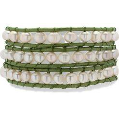 Bransoletki damskie: Skórzana bransoletka w kolorze jasnozielonym z perłami słodkowodnymi