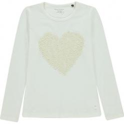 Koszulka w kolorze białym. Białe bluzki dziewczęce z długim rękawem marki Marc O'Polo Junior, z nadrukiem, z okrągłym kołnierzem. W wyprzedaży za 72,95 zł.