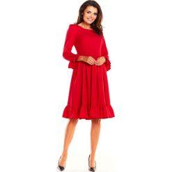 Czerwona Kobieca Wizytowa Sukienka z Falbankami. Czerwone sukienki koktajlowe marki Mohito, l, z materiału, z falbankami. Za 148,90 zł.