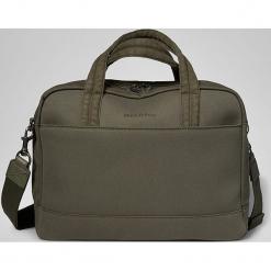 """Torba """"106"""" w kolorze zielonym na laptopa - 45 x 42 x 12 cm. Zielone torby na laptopa marki Marc O'Polo, w paski, z bawełny. W wyprzedaży za 409,95 zł."""