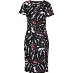 Sukienka shirtowa z nadrukiem bonprix czarno-brązowo-jasnoróżowy. Sukienki małe czarne marki bonprix, z nadrukiem, z dekoltem w serek, z krótkim rękawem, dopasowane. Za 79,99 zł.