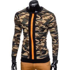 BLUZA MĘSKA BEZ KAPTURA B808 - ZIELONA. Zielone bluzy męskie rozpinane marki Ombre Clothing, m, z bawełny, bez kaptura. Za 49,00 zł.