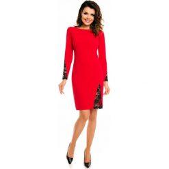 Czerwona Elegancka Sukienka przed Kolano z Prześwitującą Koronką. Czerwone sukienki balowe Molly.pl, na co dzień, l, w koronkowe wzory, z koronki, z dekoltem na plecach, ołówkowe. Za 119,90 zł.