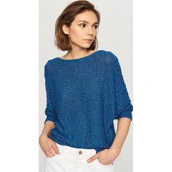 Swetry klasyczne damskie: Sweter z rękawami 3/4 - Granatowy
