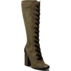 Kozaki CARINII - B4301 I43-E50-PSK-C00. Zielone buty zimowe damskie Carinii, z nubiku, na obcasie. W wyprzedaży za 309,00 zł.