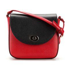 Torebki klasyczne damskie: Skórzana torebka w kolorze czarno-czerwonym – (S)19 x (W)17,5 x (G)6,5 cm