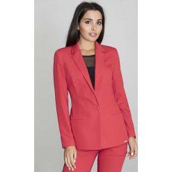 Odzież damska: Czerwony Żakiet Elegancki Taliowany na Jeden Guzik