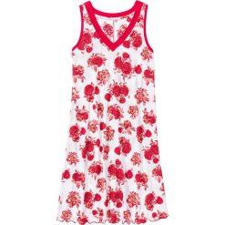 Koszule nocne i halki: Koszula nocna bonprix biało-czerwony w kwiaty