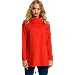Bluzy damskie: Czerwona Bluza z Nakładanymi Kieszeniami