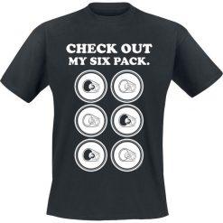 Check Out My Six Pack. T-Shirt czarny. Czarne t-shirty męskie z nadrukiem Check Out My Six Pack., xl, z okrągłym kołnierzem. Za 42,90 zł.
