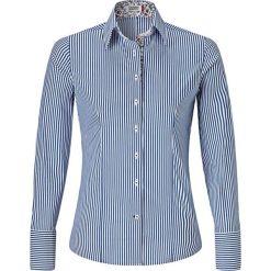 Bluzka w kolorze niebiesko-białym. Niebieskie topy sportowe damskie Vincenzo Boretti, z bawełny, z klasycznym kołnierzykiem, z długim rękawem. W wyprzedaży za 295,95 zł.